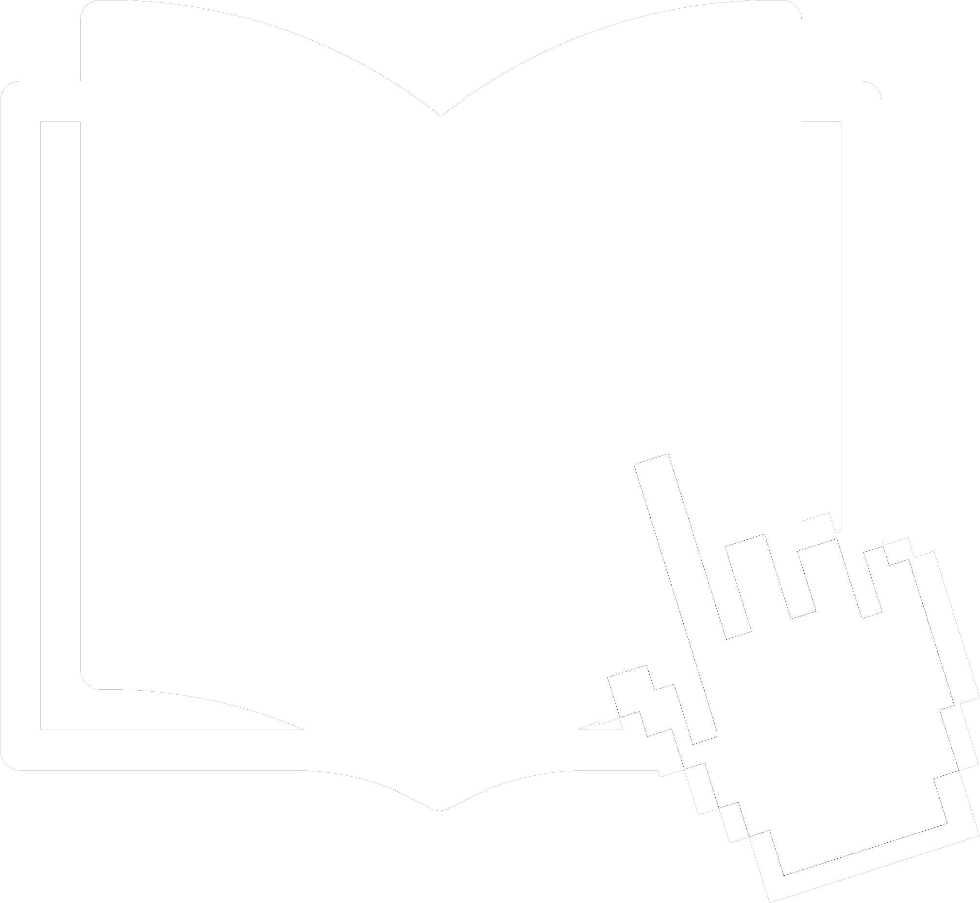 Icon representing a hand pointing to a place in a book
